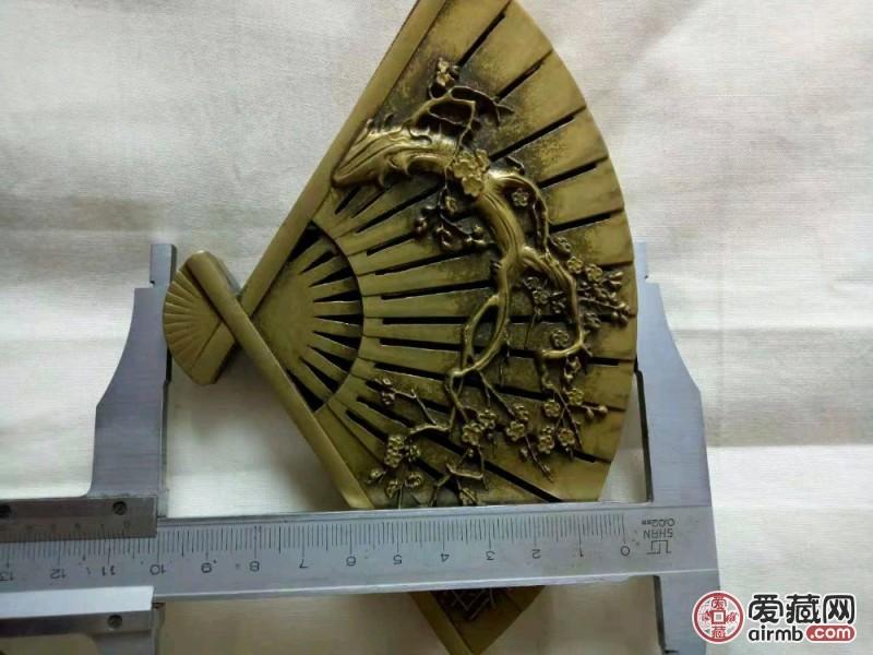 笔洗摆件纯铜打造,扇子型