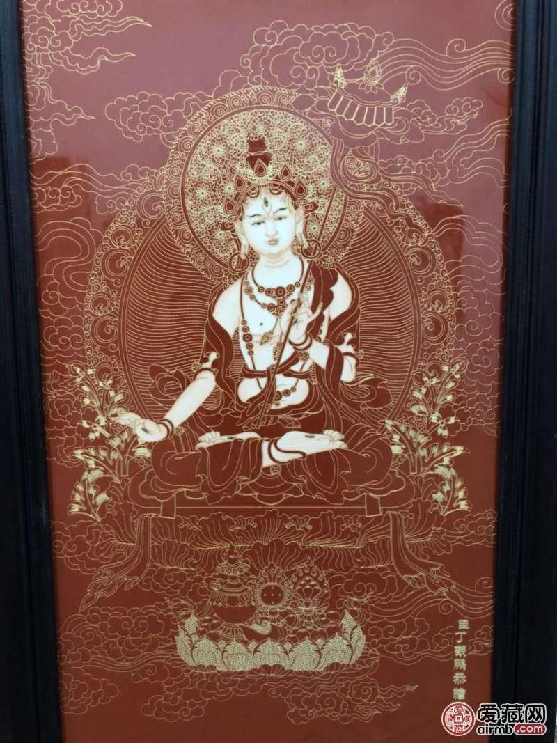 《丁觀鹏》作品红木镶瓷板
