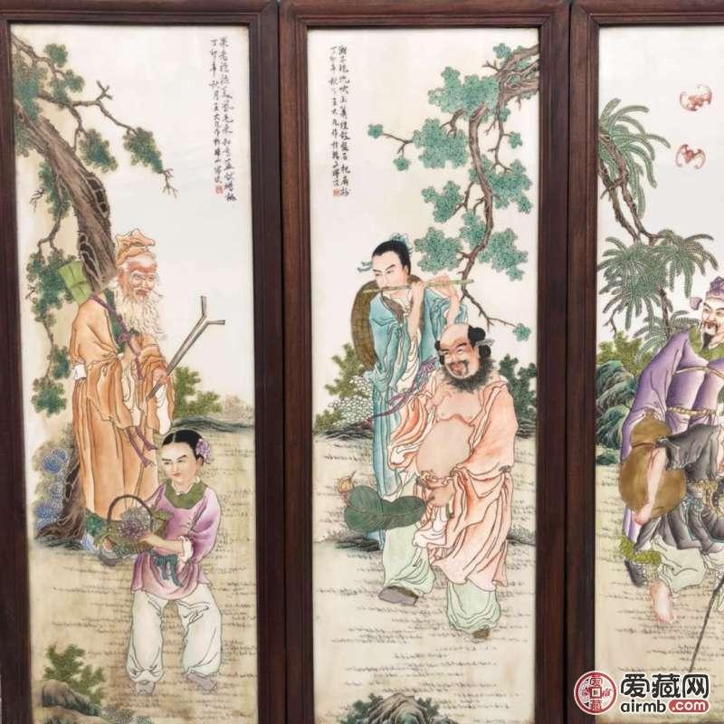 《王大凡》作品红木镶瓷板