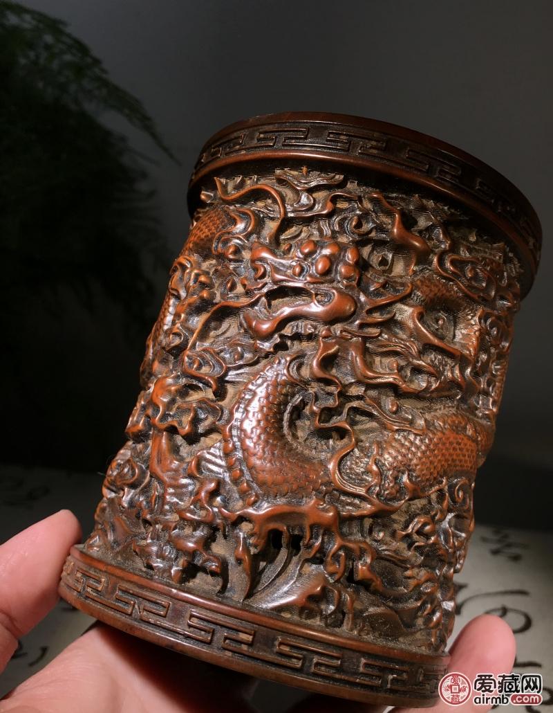 旧藏老黄杨木:笔筒整件作