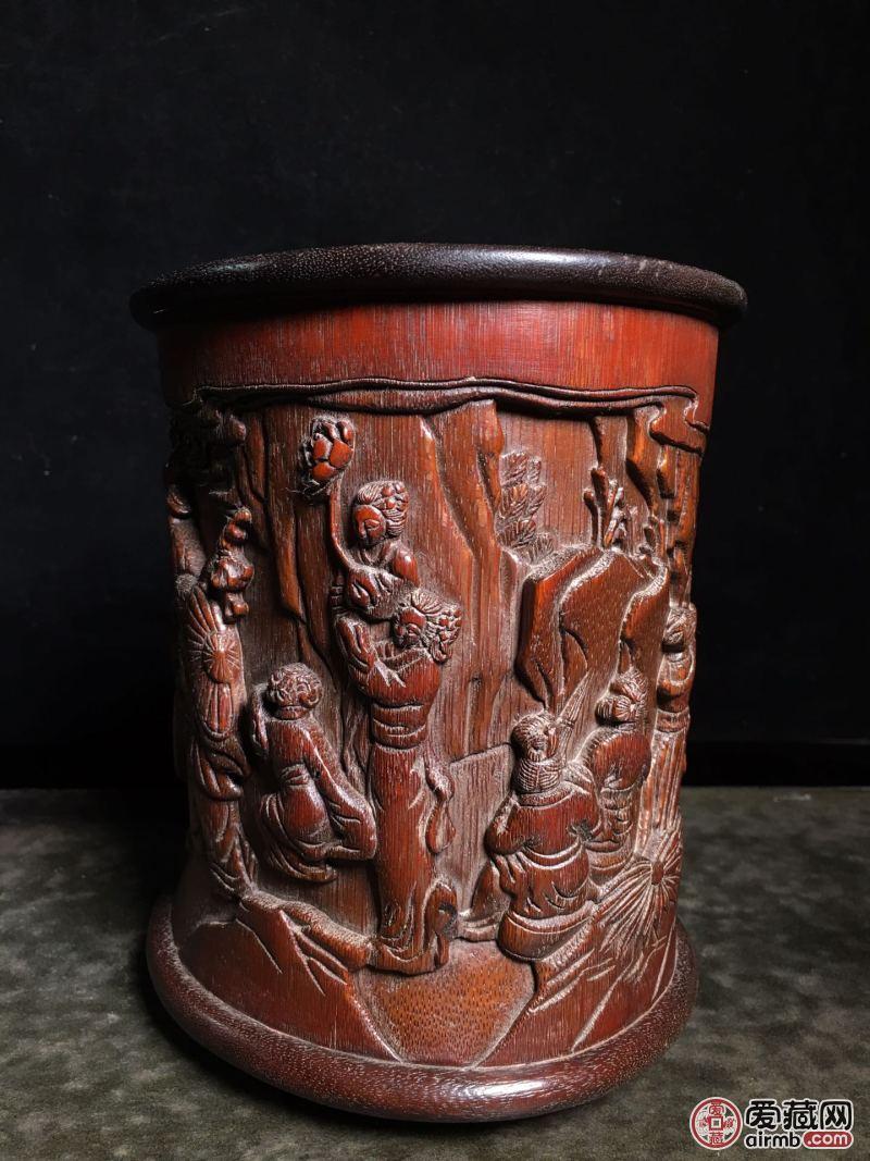 竹雕[祝寿图]笔筒,高1