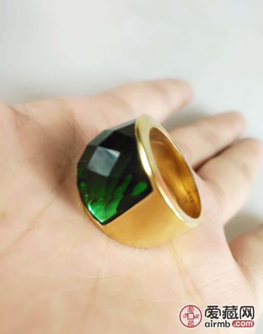 收来的18k金戒指 镶嵌