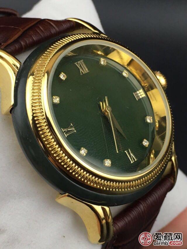 精品新疆和田青玉镶嵌手表